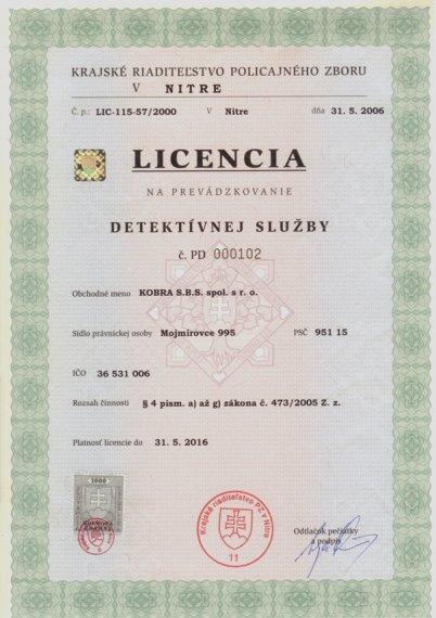 licencia č. pd 000102